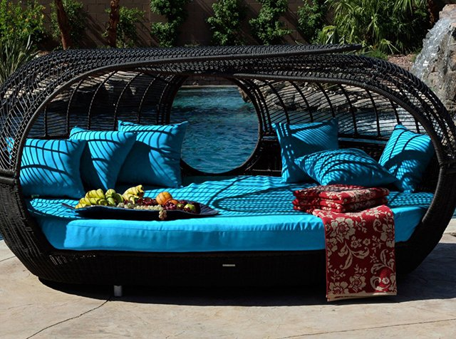 Handcrafted Outdoor Wicker Daybed. Price: $6,500.
