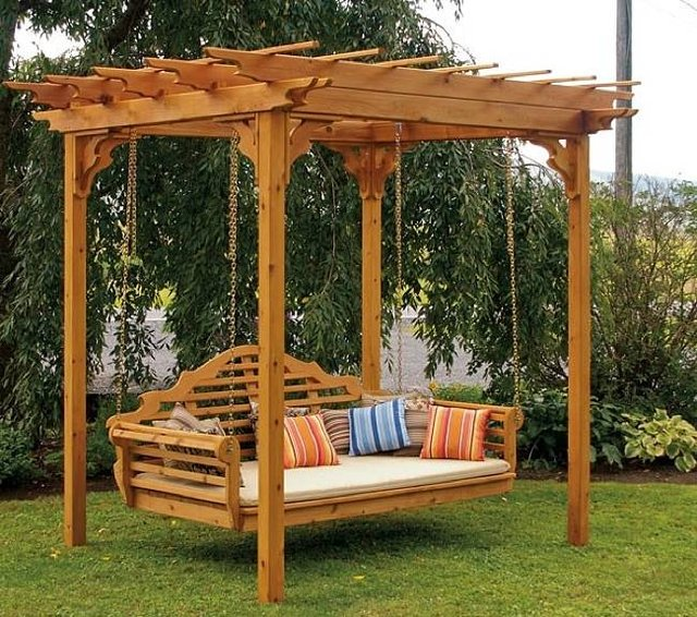 Cedar Pergola Swing Bed Stand. Price $1,100 USD