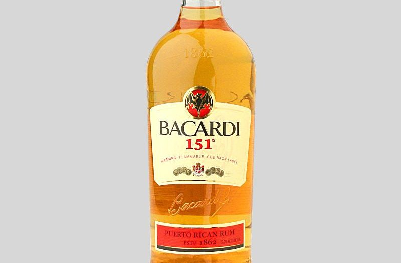 Bacardi 151 alcohol content level by volume
