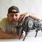A great BULL sculpture made of scrap metal