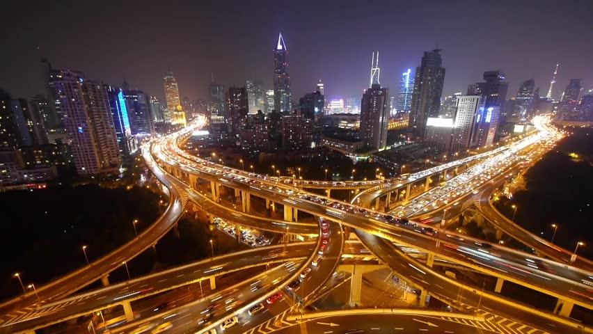 Shanghai Busiest Highway, Yan an East Road Overpass, Interchange, China